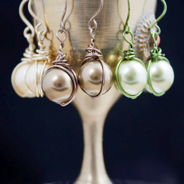 Glass Pearl Earrings Wrapped in Wire