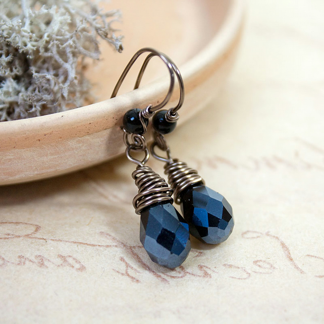 Black Faceted Crystal Drop Earrings