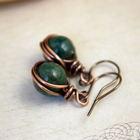 Wire Wrapped Moss Agates in Warm Copper