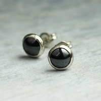 Sterling Silver Studs with Hematite Stone
