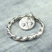 Silver Charm Dangle Ring - Twisted Sterling Ring any Size