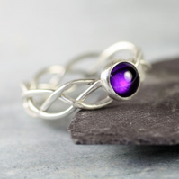 Celtic Silver Ring Set With Deep Purple Amethyst