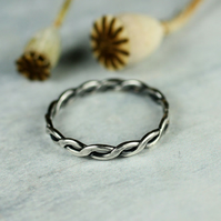 One Sterling Silver Twist Ring - In Your Size