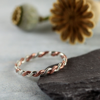 Sterling and Copper Twist Ring - Hammered Rope Pattern - Your Size