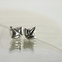 Silver Ivy Leaf Post Earrings - Tiny Forest Studs