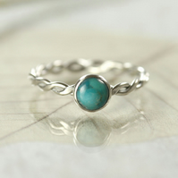 Sterling Silver Twist Ring - Celtic Hammered with Turquoise Stone
