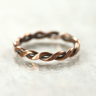 Men's Chunky Copper Twist Ring - Hammered Rope Pattern - Your Size