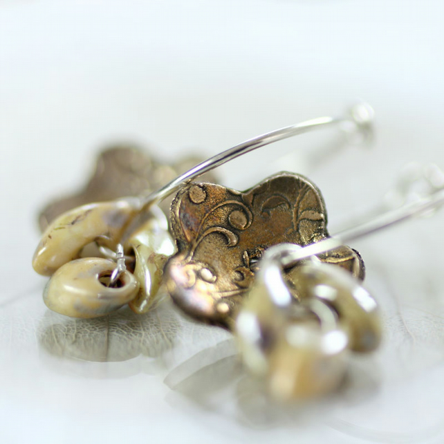 Delicate Bronze Daisy Earrings on Sterling Silver Hoops