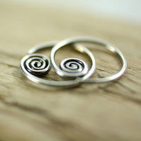 Sterling Silver Sleeper Hoops with Spiral Detail - Sideways 1 Pair