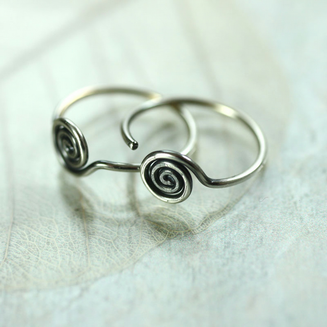 Sterling Silver Sleeper Hoops with Spiral Detail - Front facing