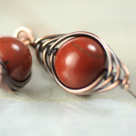 Red Jasper Earring in Herringbone Copper Wire