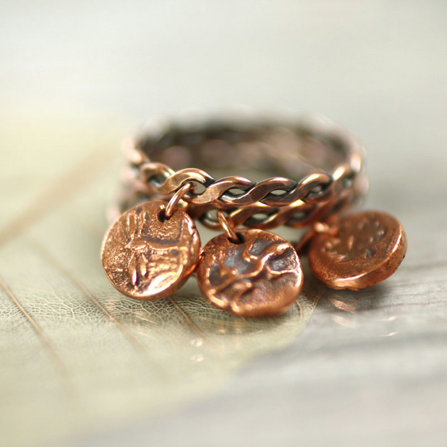 Charm Dangle Ring - Twisted Copper Ring with Totem Animal