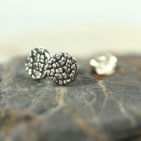 Tiny Round Studs with Leaf Texture - Sterling Silver Woodland Jewellery