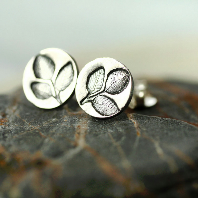 Leafy silver Studs with Twig Imprint. Forest Jewellery for Woodland lover