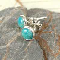 Classic Silver Studs with Turquoise Cabochons 6mm