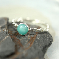 Sterling Silver Twist Ring - Hammered with Amazonite Stone