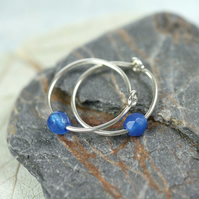 Silver Sleeper Hoops - Sterling Earrings with Blue Jade Bead
