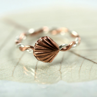 Sterling and Copper Twist Ring with Shell Charm