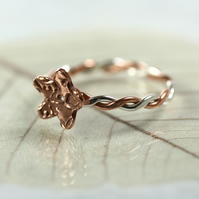 Sterling and Copper Twist Ring with Flower Charm