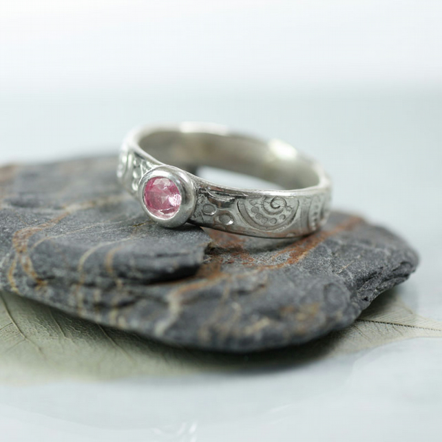 Art Nouveau Style Sterling Band Ring with Pink CZ