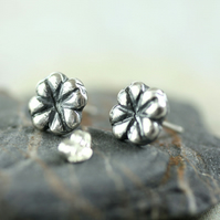 Silver Luck Post Earrings - Tiny Nature Studs Four Leaf Clover