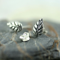 Silver Leaf Post Earrings - Tiny Nature Studs