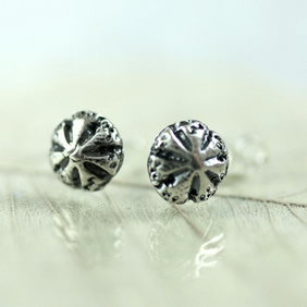 Silver Stud Earrings Sea Urchins - Cute Posts in Recycled Silver