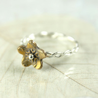 Sterling Twist Stacking Ring with Bronze Daisy Flower