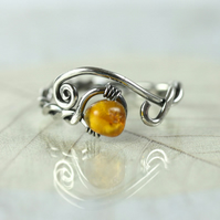 Sterling twist Ring with Danish Amber - Viking Style Rustic Jewellery
