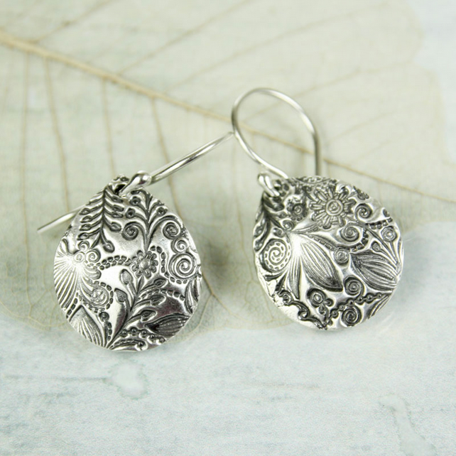 Curved Fine Silver Petal Earrings. Flower and Fairytale Pattern
