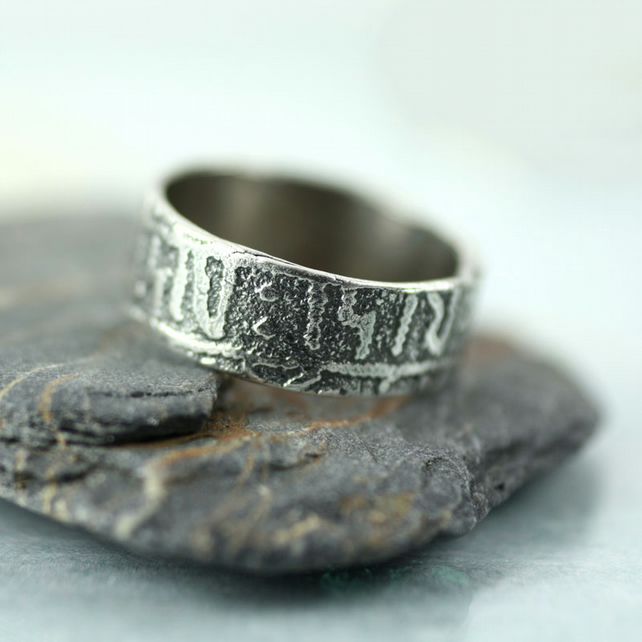 Rune Stone Sterling Band Ring - Ancient Viking Treasure - Nordic