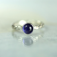 Hammered Twist Ring - Sterling with Purple Iolite Gemstone 6mm