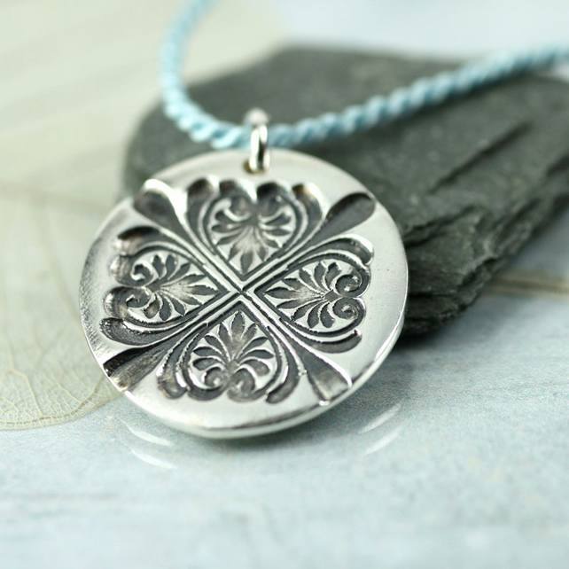Fine Silver Leaf Cross Pendant on Silk Cord