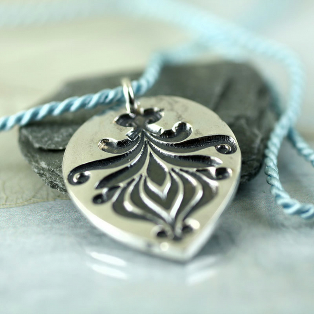 Fine Silver Lotus Flower Flourish Teardrop Pendant on Silk Cord
