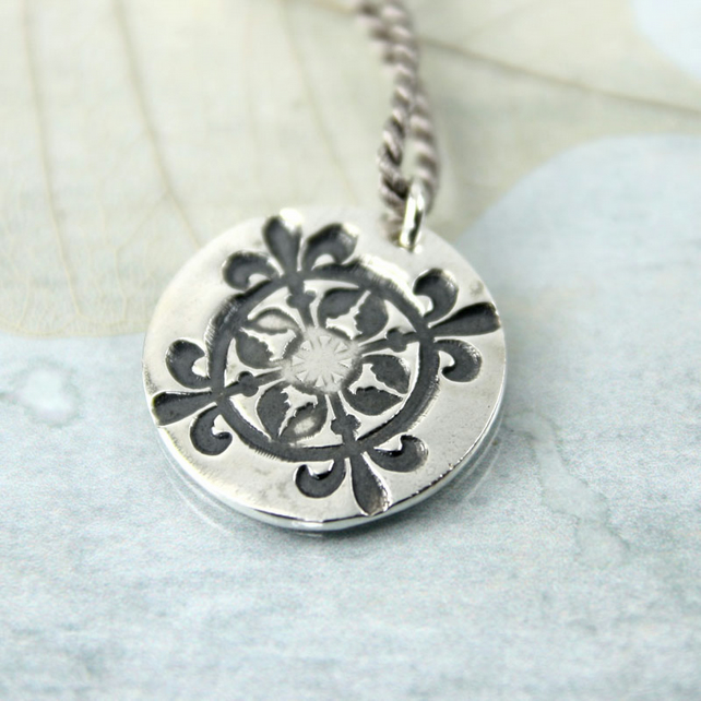 Fine Silver Compass Pendant on Silk Cord