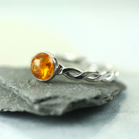 Hammered Twist Ring - Sterling with Golden Amber 6mm