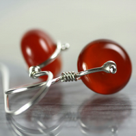 Wheel Sterling Earrings - Riveted Red Agate Stones on Silver