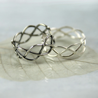 Silver Wire Ring in Celtic Braid - Entwined for Eternity 7mm