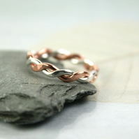 Chunky Sterling and Copper Twist Ring - Hammered - Your Size