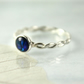 Sterling Silver Twist Ring with Blue Abalone Cabochon Bezel Set