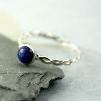 Lapis Lazuli in Sterling Silver Twist Ring - Cabochon Bezel Set