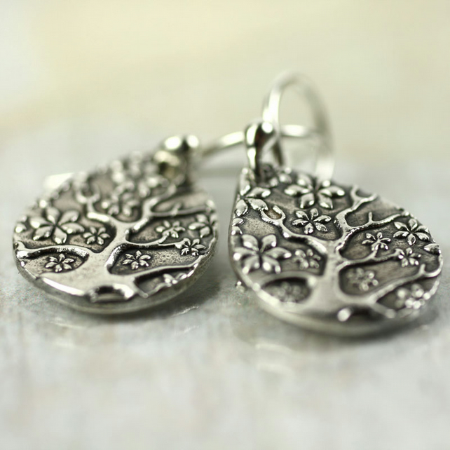 Silver Tree Of Life Drop Earrings - Sterling Dangles - botanical Jewellery