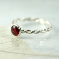 Sterling Silver Twist Ring with Red Abalone Cabochon Bezel Set