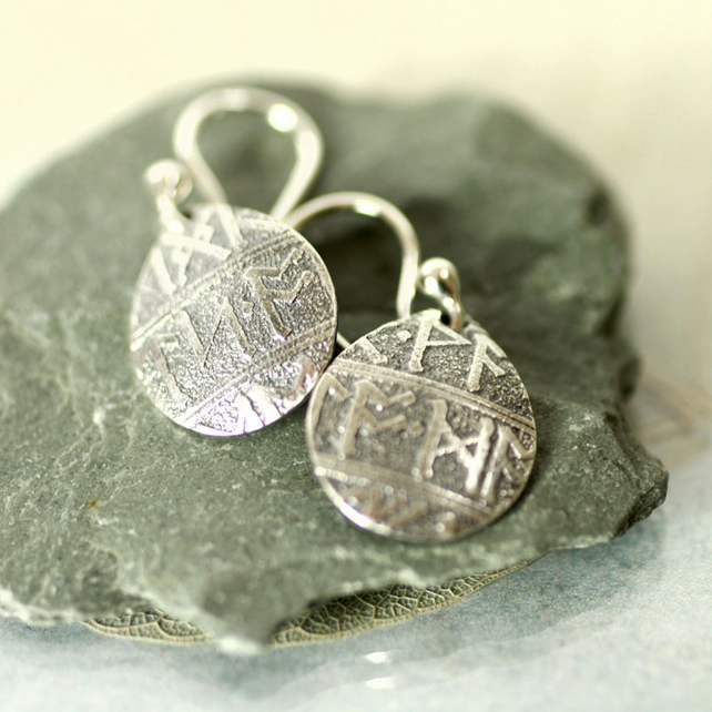 Petal Drop Earrings in Fine Silver with Rune Imprint