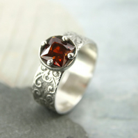 Wide Sterling Band Valentine Ring - Filigree Pattern and Garnet CZ - Size Q 0.5