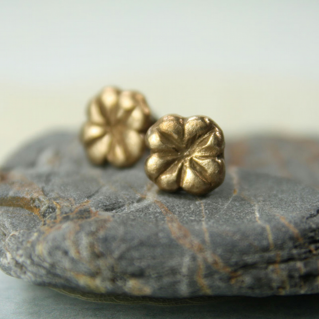 Bronze Clover Leaf Post Earrings - Tiny Nature Studs