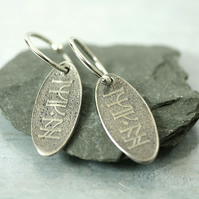 Good Luck Earrings - Dwarf Rune Charm Inscription in Sterling Silver