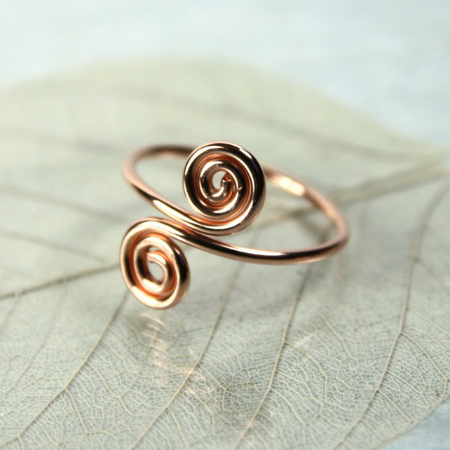 Copper Midi Ring - Two Spirals - Above Knuckle Ring - Adjustable