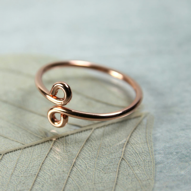 Copper Midi Ring - Two Headed Snake - Above Knuckle Ring - Adjustable