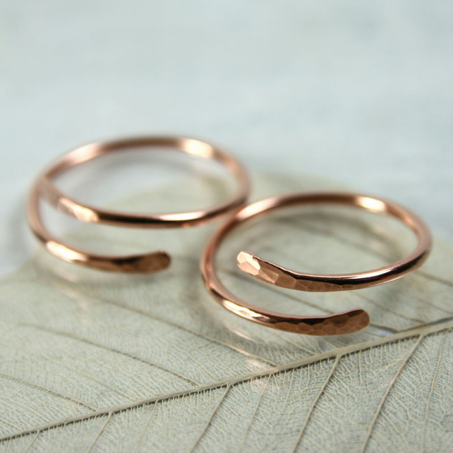Copper Midi Ring - Overlap Paddle Ends - Above Knuckle Ring - Adjustable